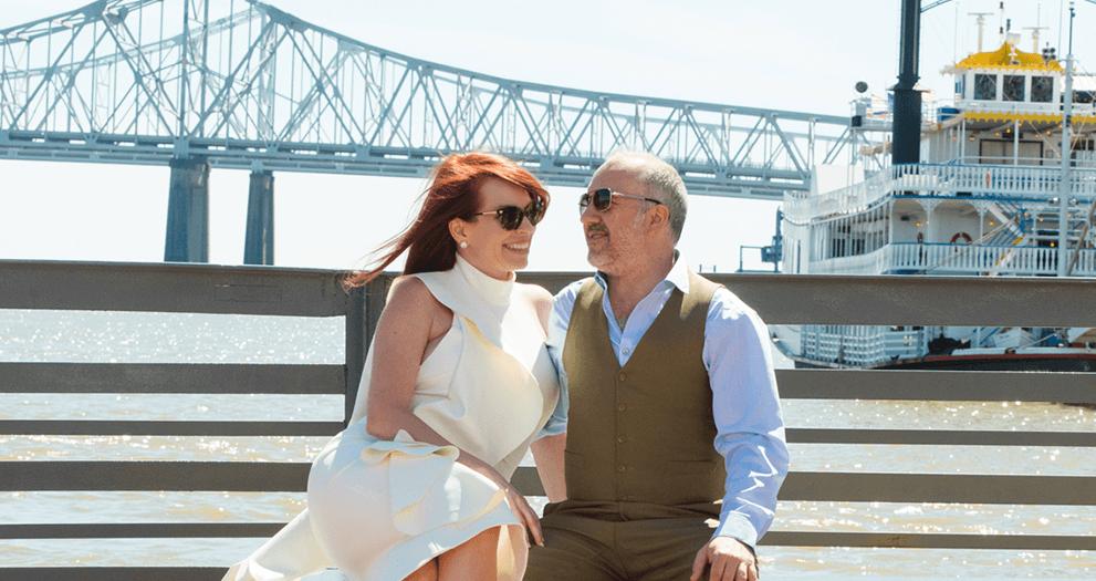 Stephanie and V enjoying a ferry ride on their wedding day...