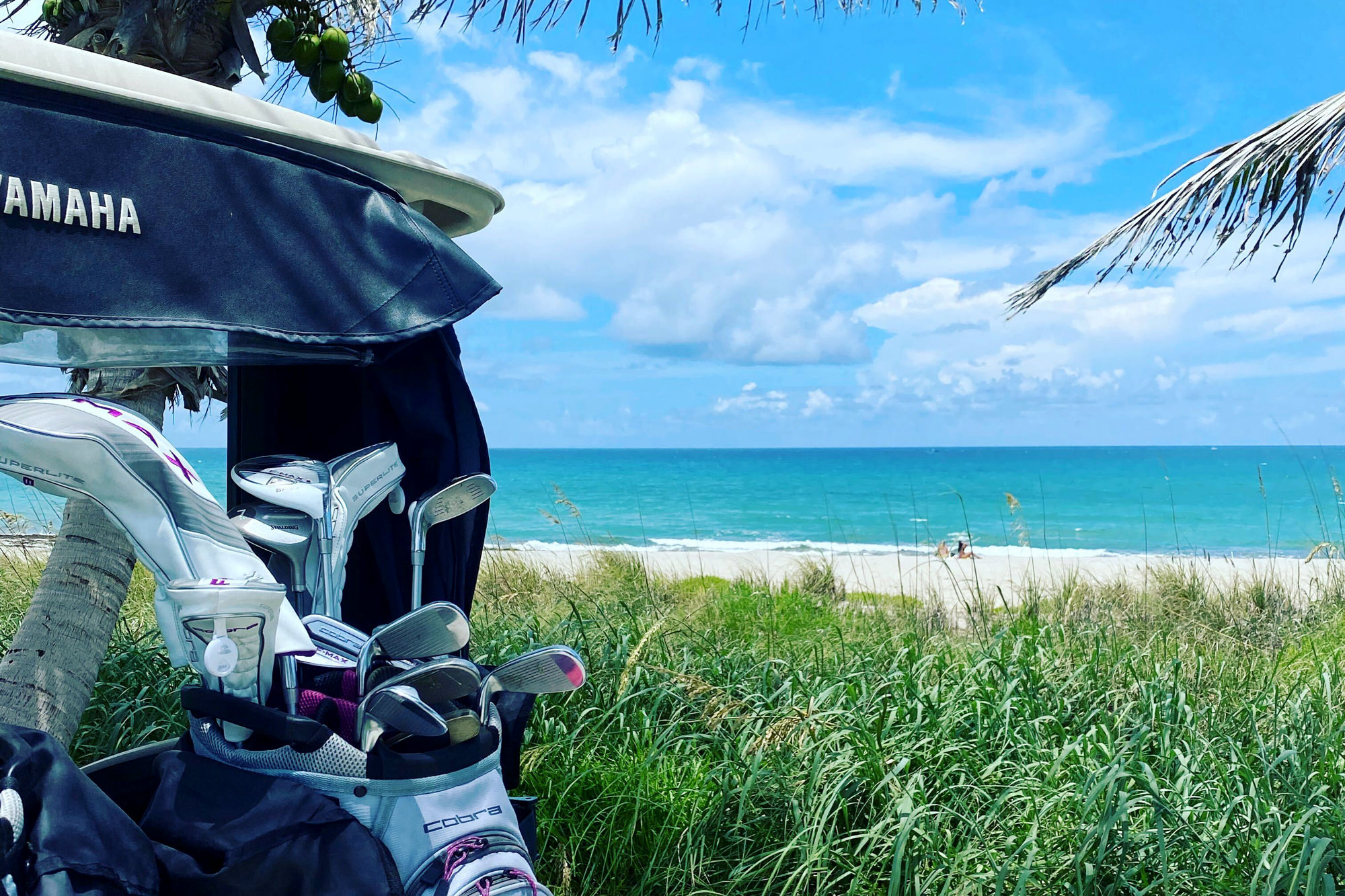 Two of Babs' favorite things in one photo: Golf clubs and a beach view...